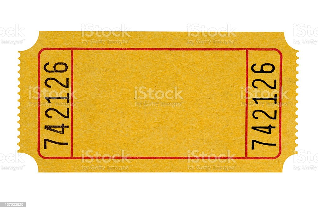 Blank yellow ticket stock photo