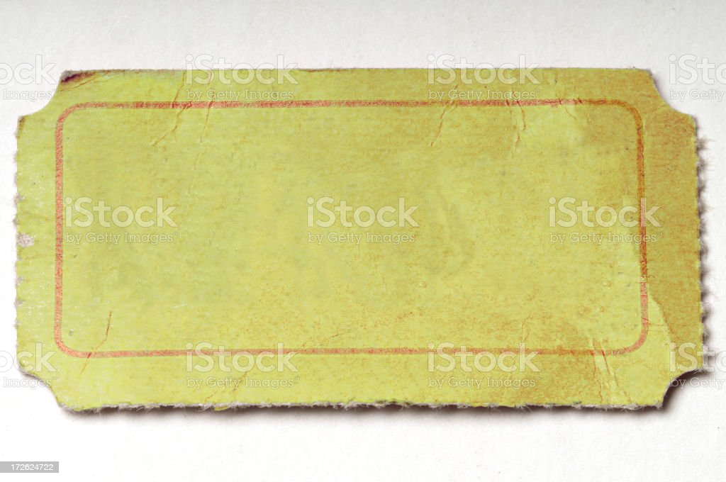 Blank Yellow Ticket royalty-free stock photo