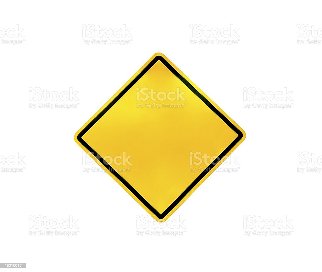 Blank yellow traffic sign stock photo