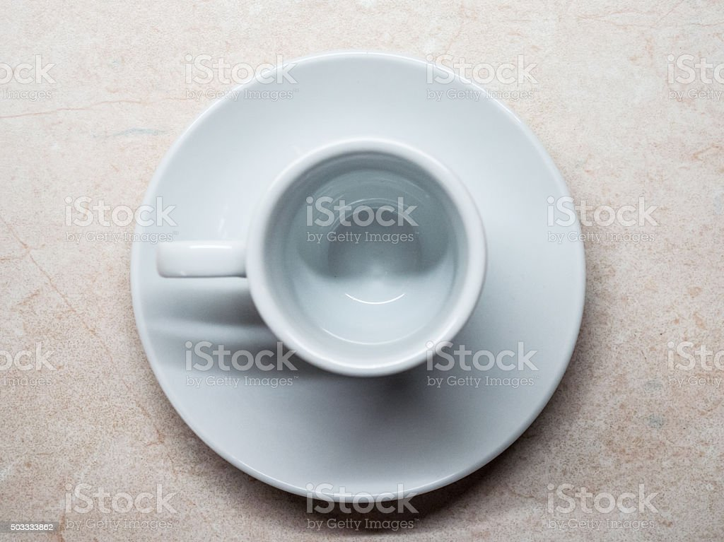 Blank/Empty Espresso/Coffee Cup with Saucer Overhead View royalty-free stock photo