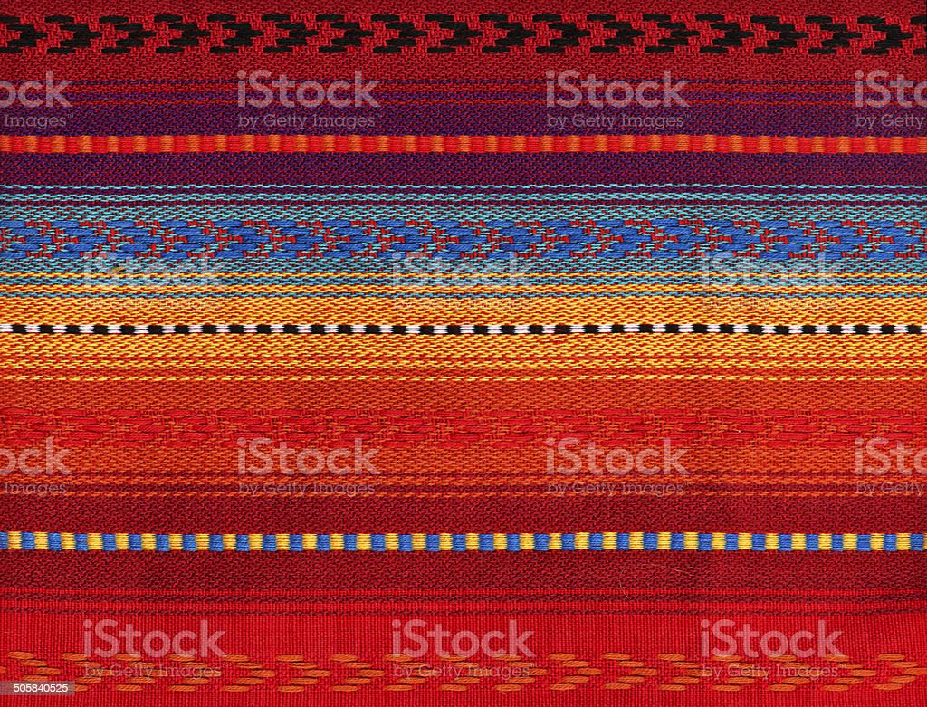Blanket Detail with Latin American Color Pattern stock photo