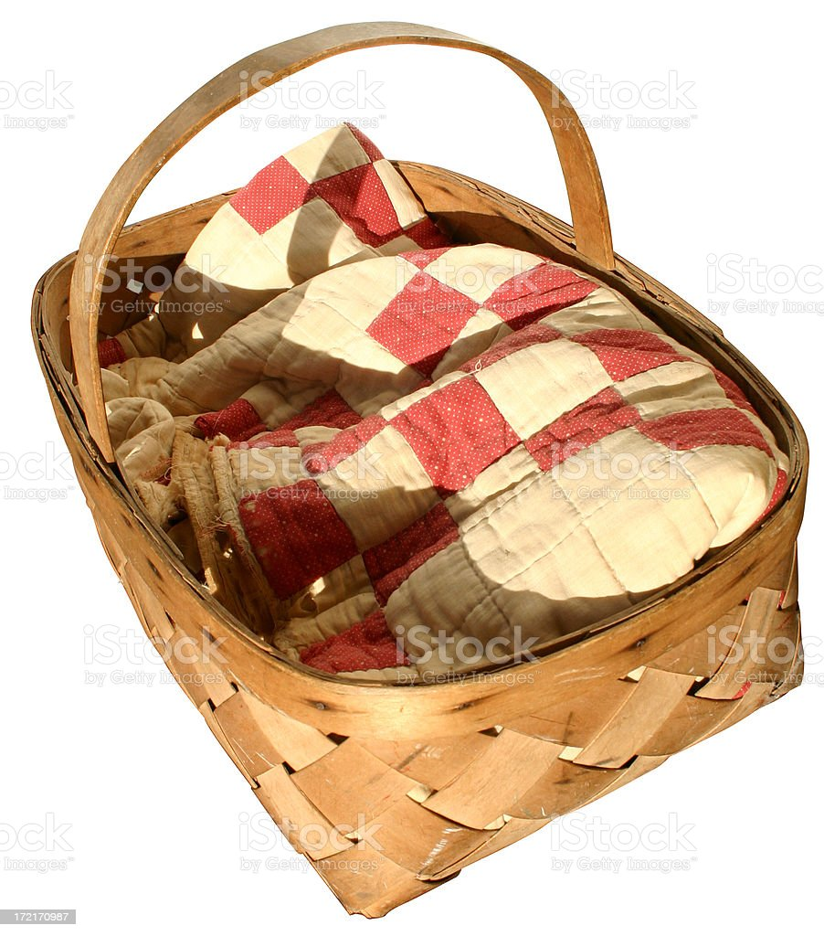 blanket in basket stock photo