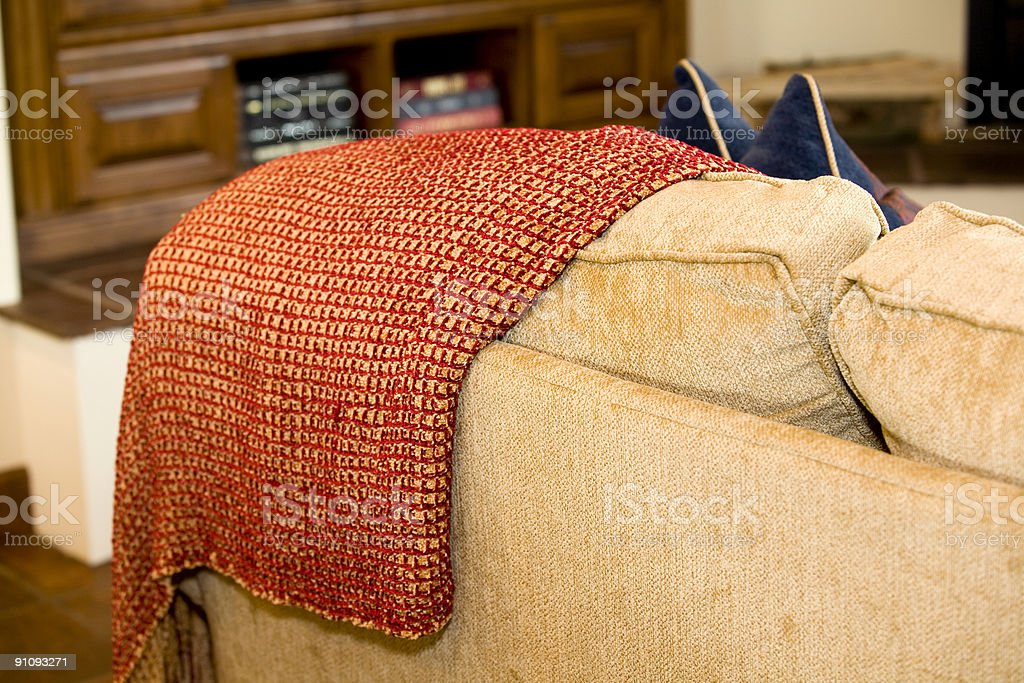 Blanket On Sofa royalty-free stock photo