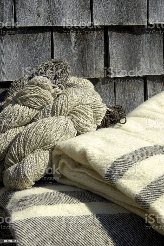 Blankets and yarn stock photo