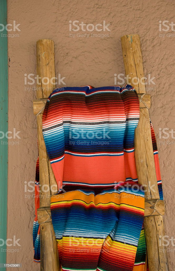 Blankets Hang on Ladder, Native American Pattern, Southwest Style stock photo