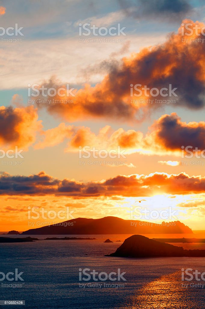 Blasket Islands at sunset in county Kerry, Ireland stock photo