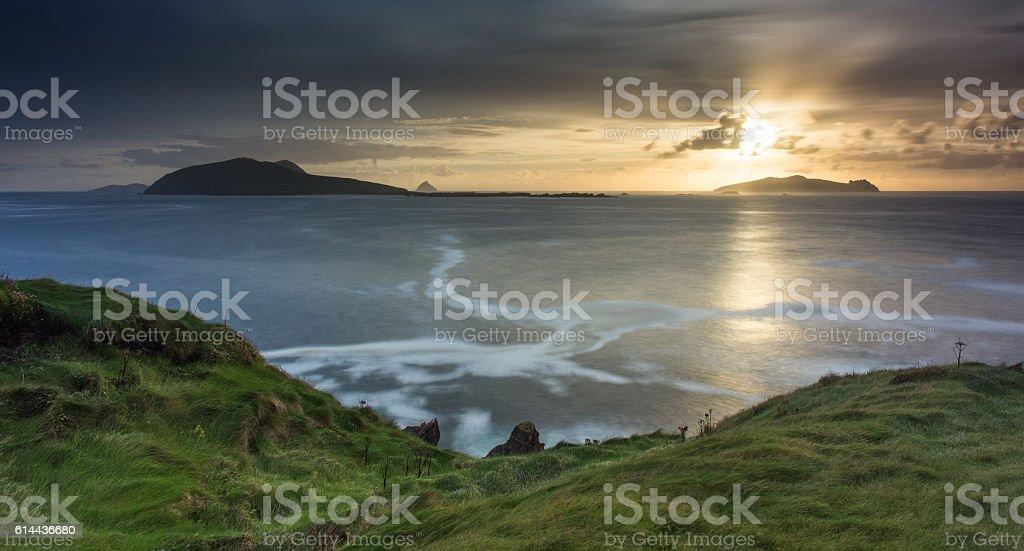 Blasket Islands sunset stock photo