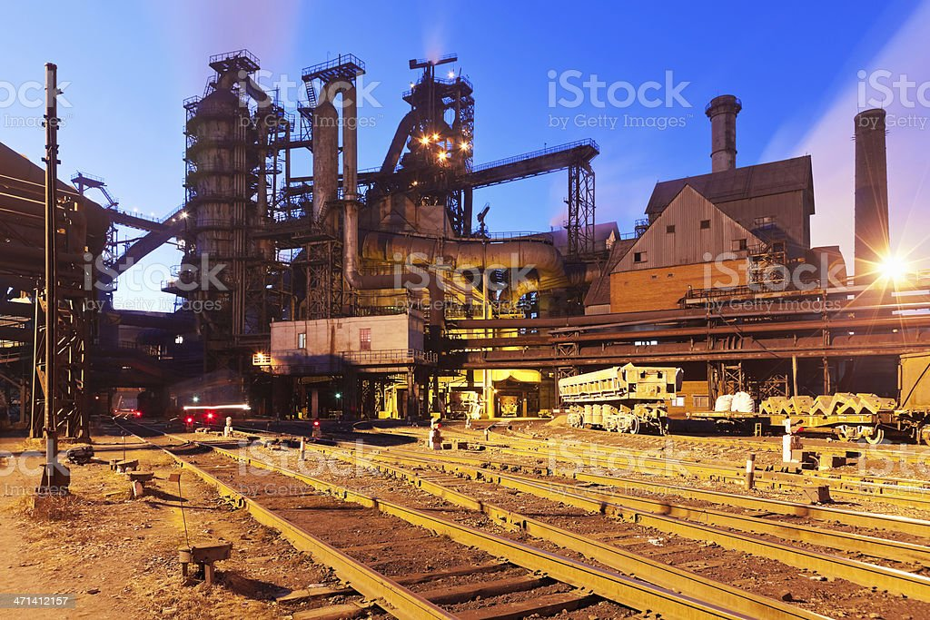 A blast furnace equipment of a metallurgical plant with rail stock photo