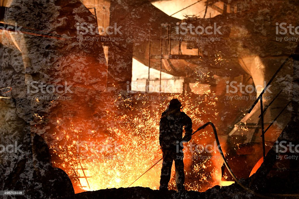 Blast furnace iron stock photo