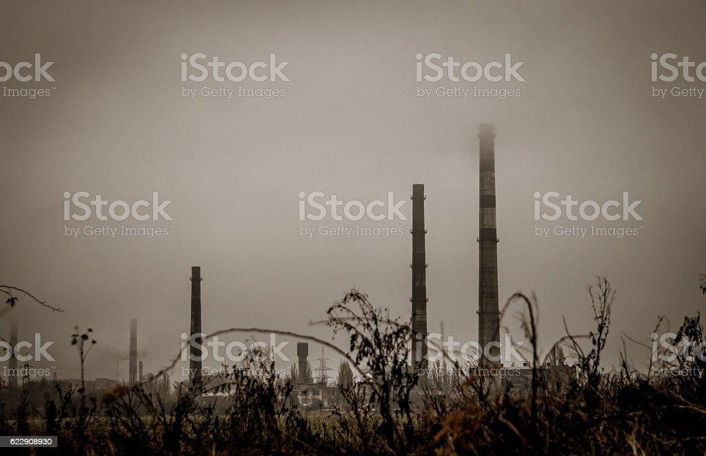 Blast furnace of steel plant. Air emissions stock photo