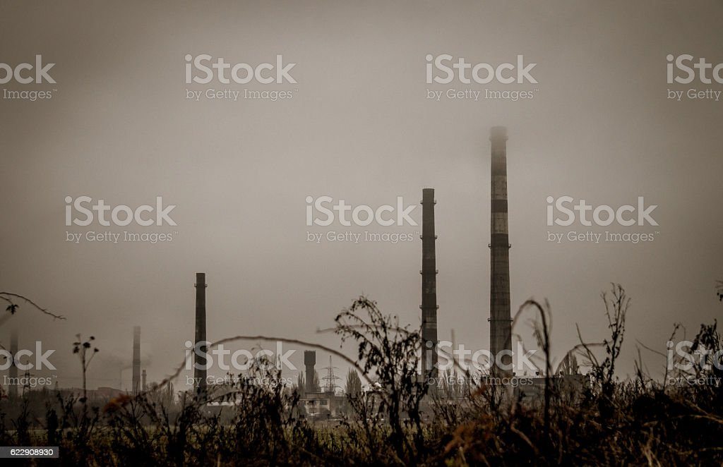 Blast furnace of steel plant. Air emissions stock photo