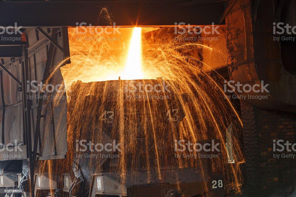 Blast furnace smelting liquid steel in steel mills stock photo