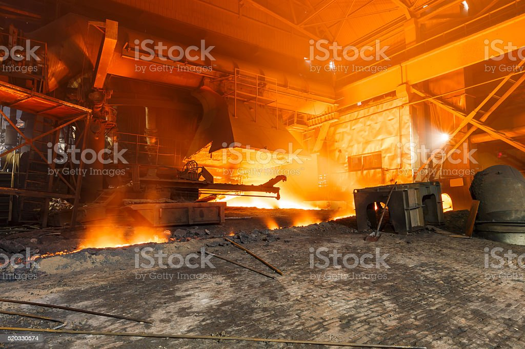 Blast furnace smelting liquid steel in steel mills stock photo