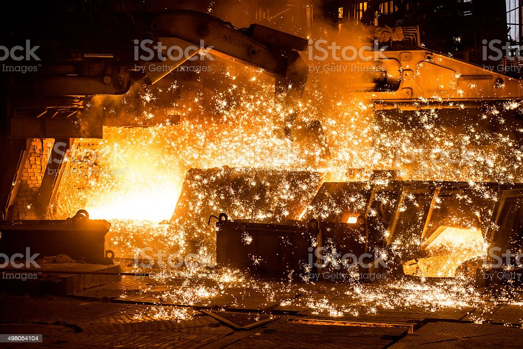 Blast furnace with sparks stock photo