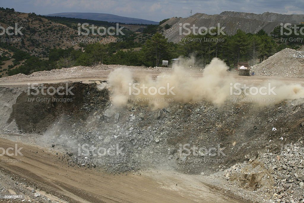 Blast in open pit stock photo