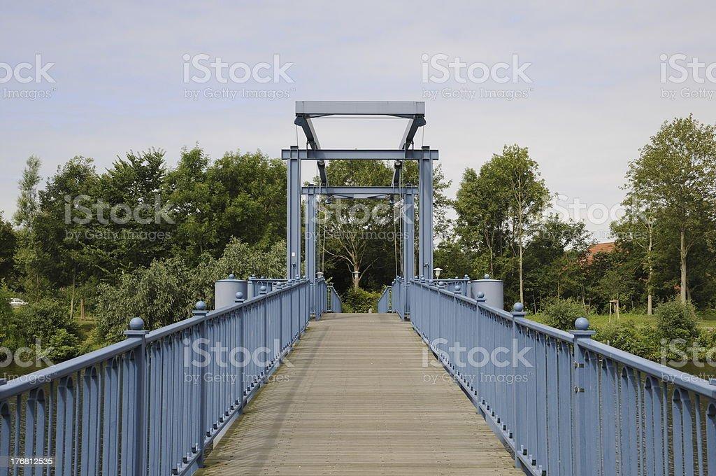Blaue Brücke (blue bridge) in Friedrichstadt stock photo