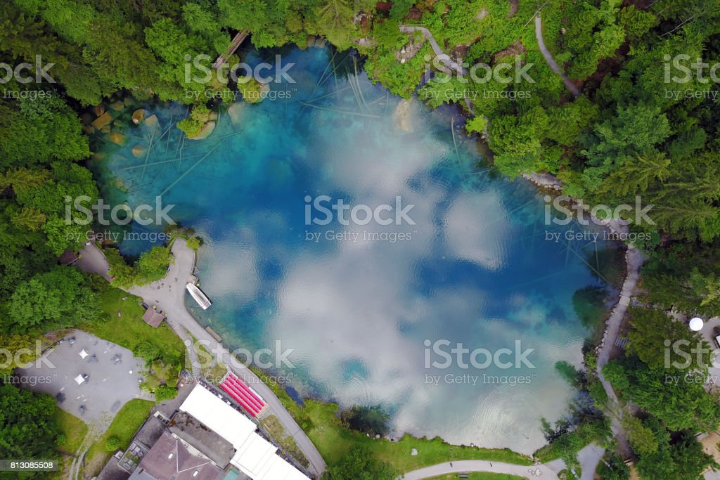 Blausee, Switzerland from the sky stock photo