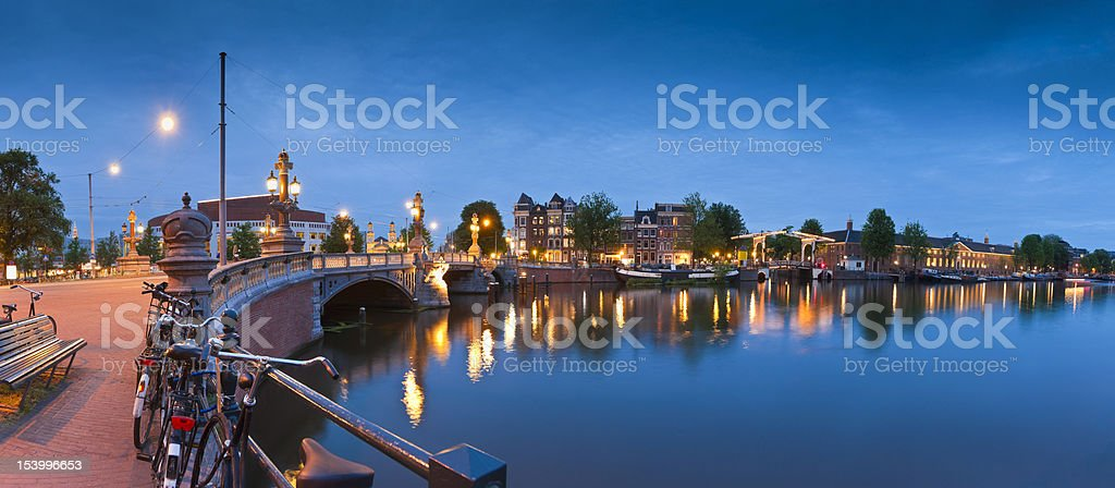 Blauwbrug and Amstel River, Amsterdam stock photo