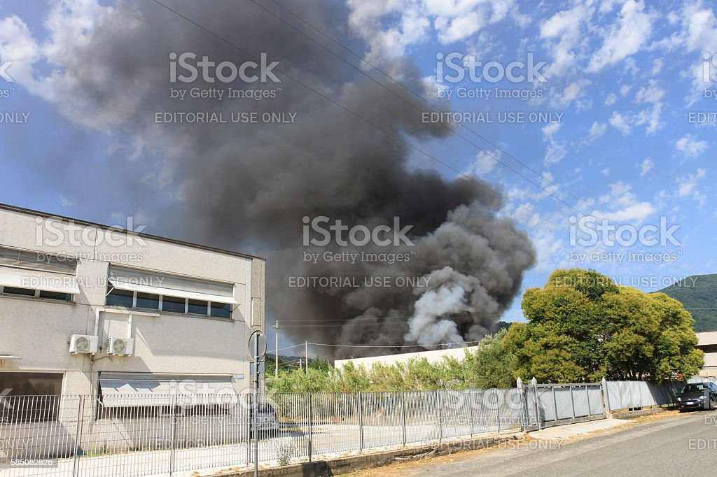 Blaze in a warehouse stock photo