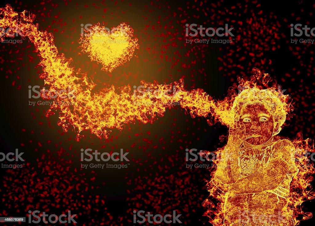 blazing child and heart stock photo