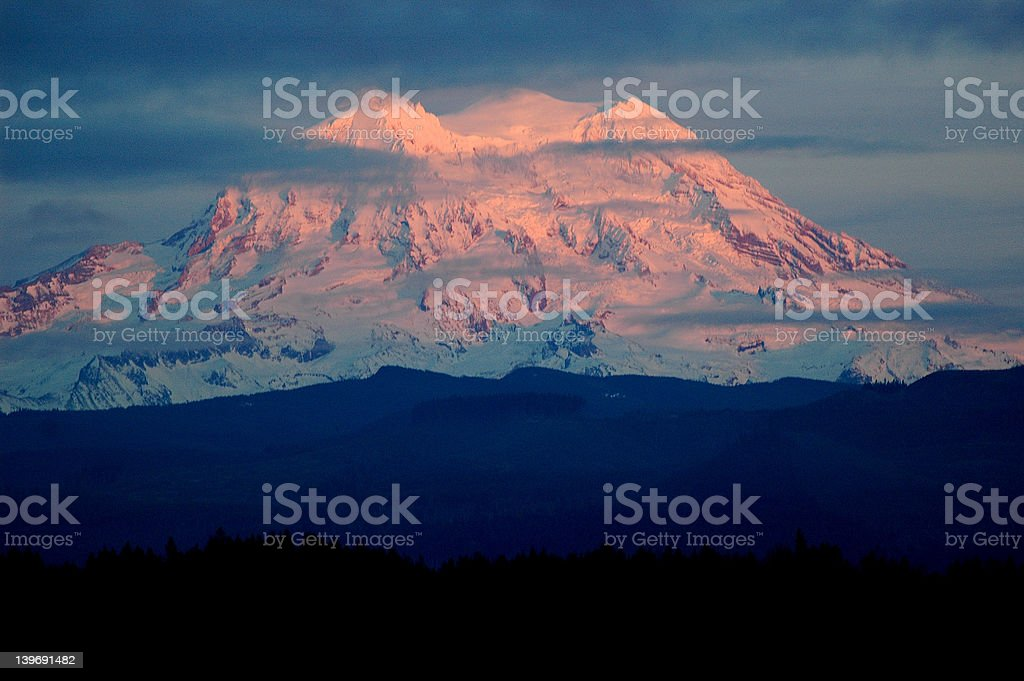 Blazing Mt. Rainier stock photo