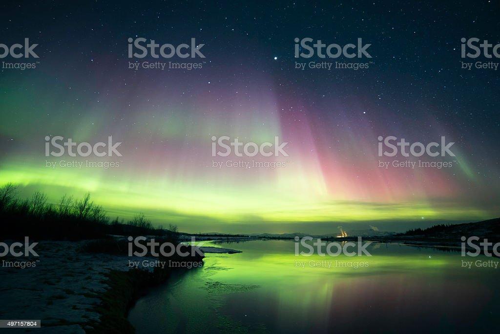 Blazing northern lights stock photo