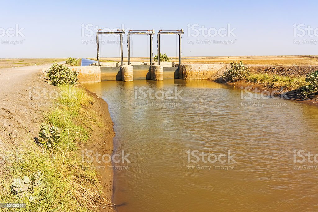 Ble Nile river canal. stock photo