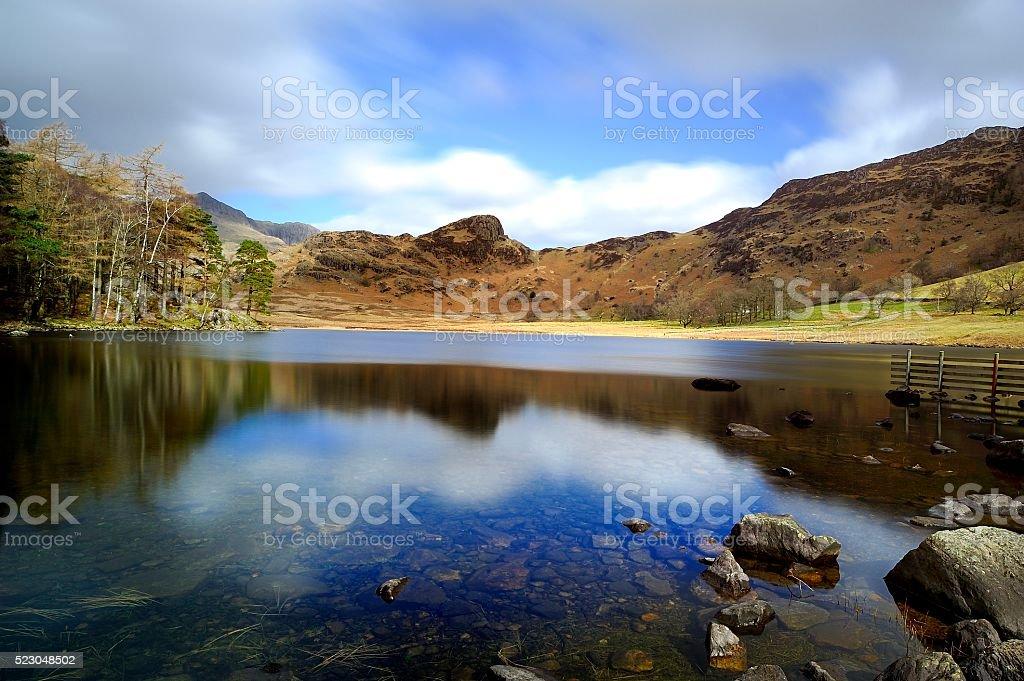 Blea Tarn and surrounding fells stock photo