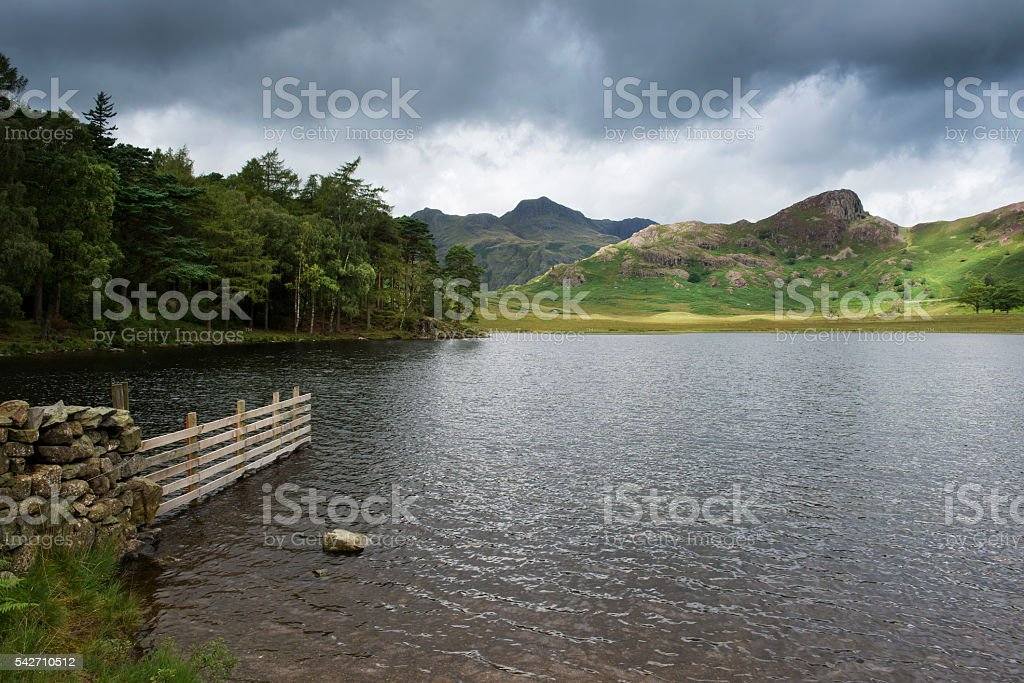 Blea Tarn and The Langdale Pikes stock photo