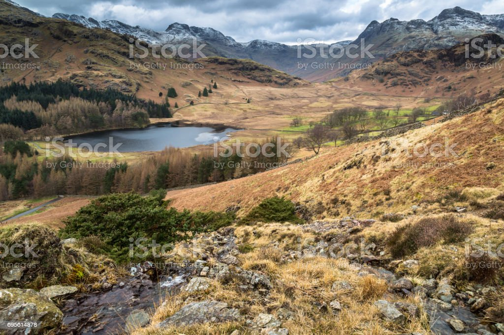 Blea Tarn and Valley stock photo