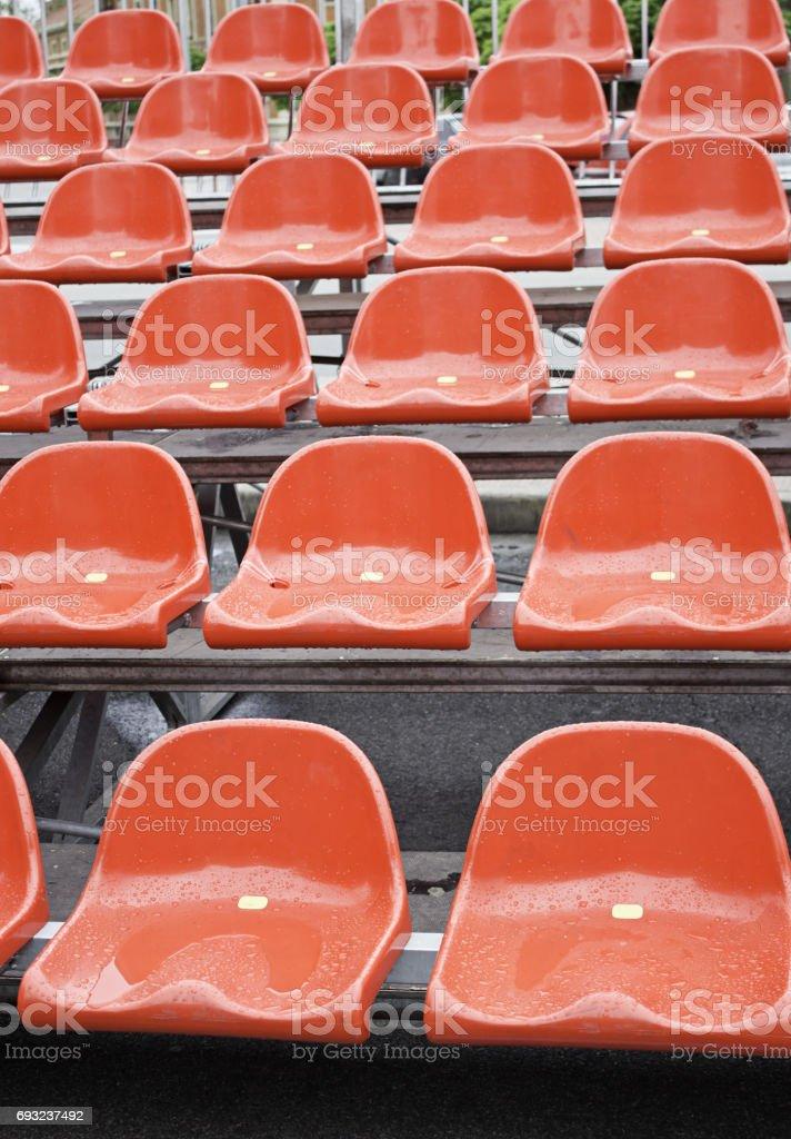 Bleacher seats stock photo