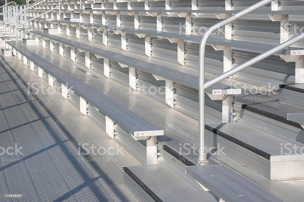 Bleachers  at the Soccer Field (empty, metal) stock photo