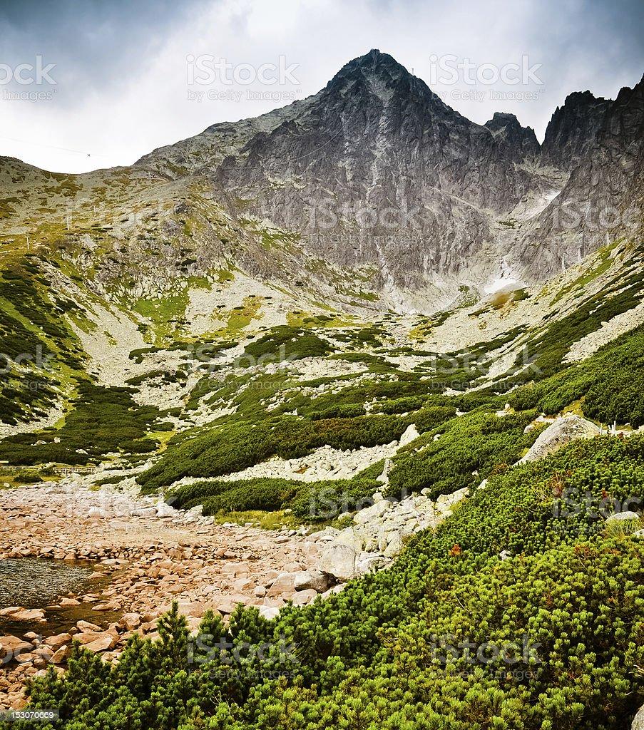 Deutlich macht, wie trostlos die Berglandschaft. Hohe Tatra Lizenzfreies stock-foto
