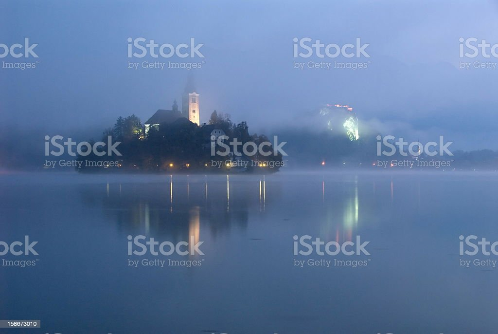 Bled at dawn royalty-free stock photo