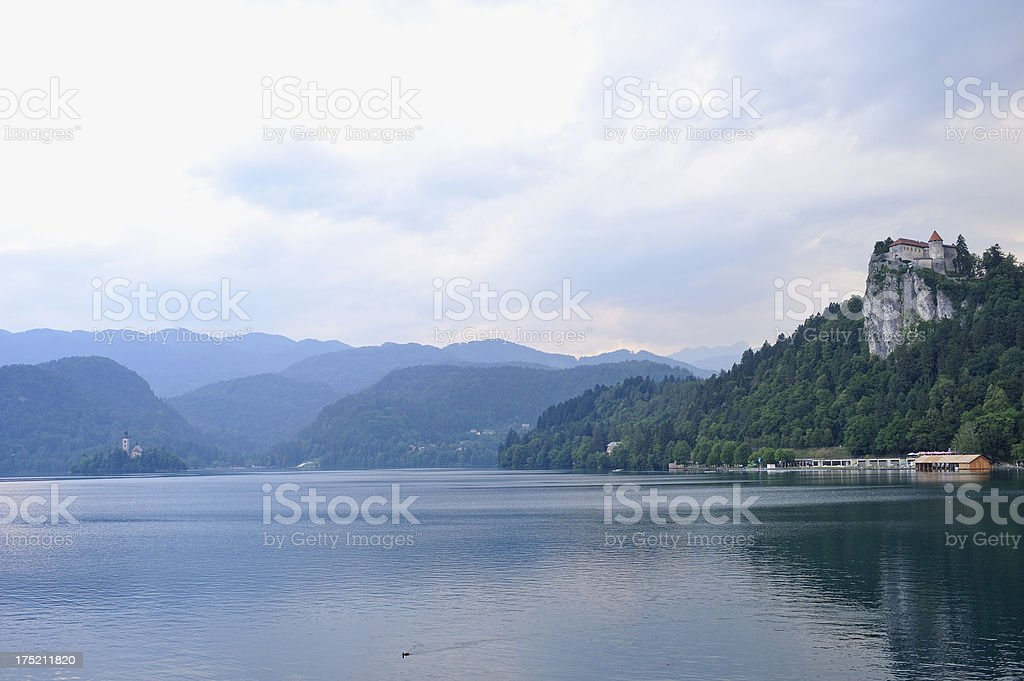 Bled Castle Overlooking the Lake at Sunset stock photo