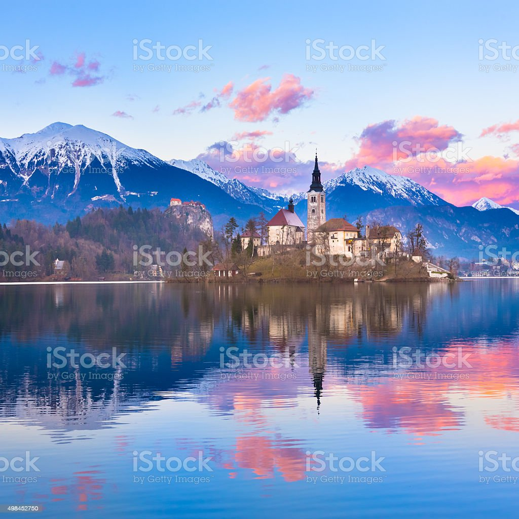 Bled in sunset, Slovenia, Europe. stock photo