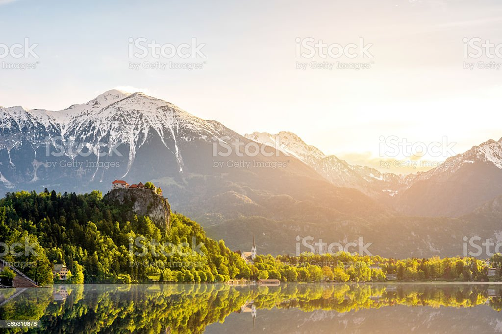Bled lake and Alps in Slovenia stock photo