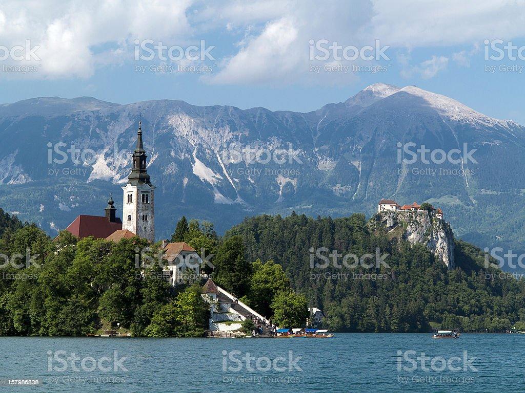 Bled Lake - Blejsko jezero in Slovenia with Julian Alps stock photo