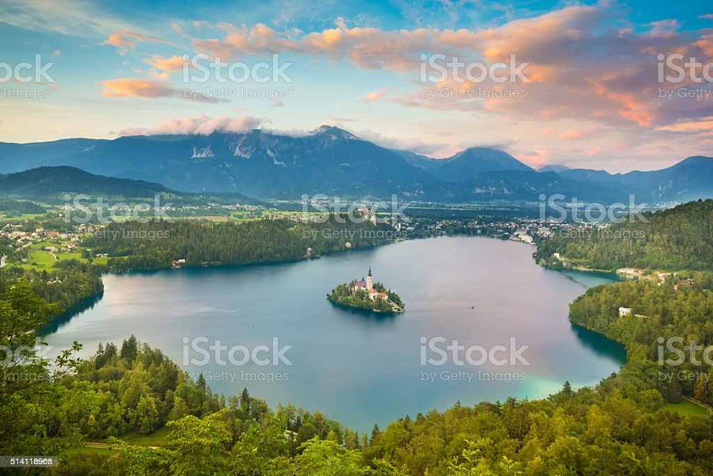 Bled Lake in Julian Alps, Slovenia. stock photo
