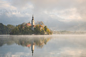 Bled Lake on a beautiful foggy morning