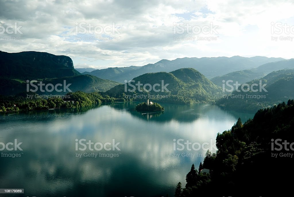 Bled Lake on green stock photo