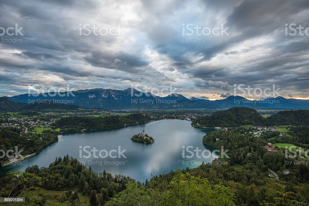 Bled Lake, Slovenia, with the Assumption of Mary Church stock photo