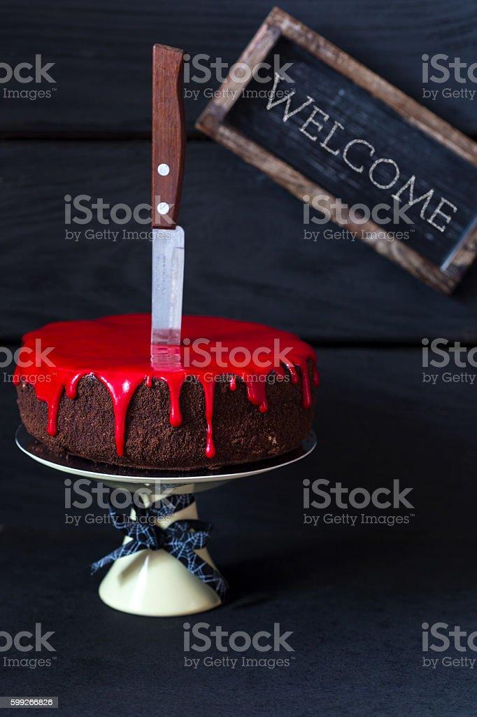 Bleeding monster cake. stock photo