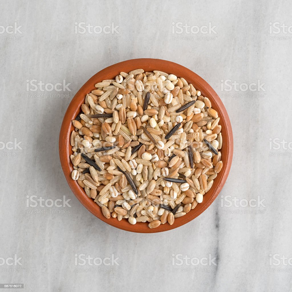Blend of rice and grains in a bowl stock photo