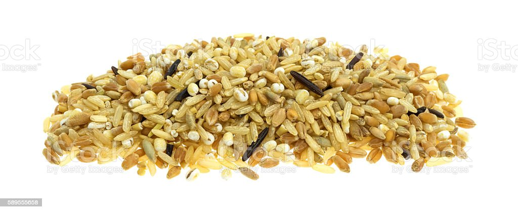 Blend of rice and grains on a white background stock photo