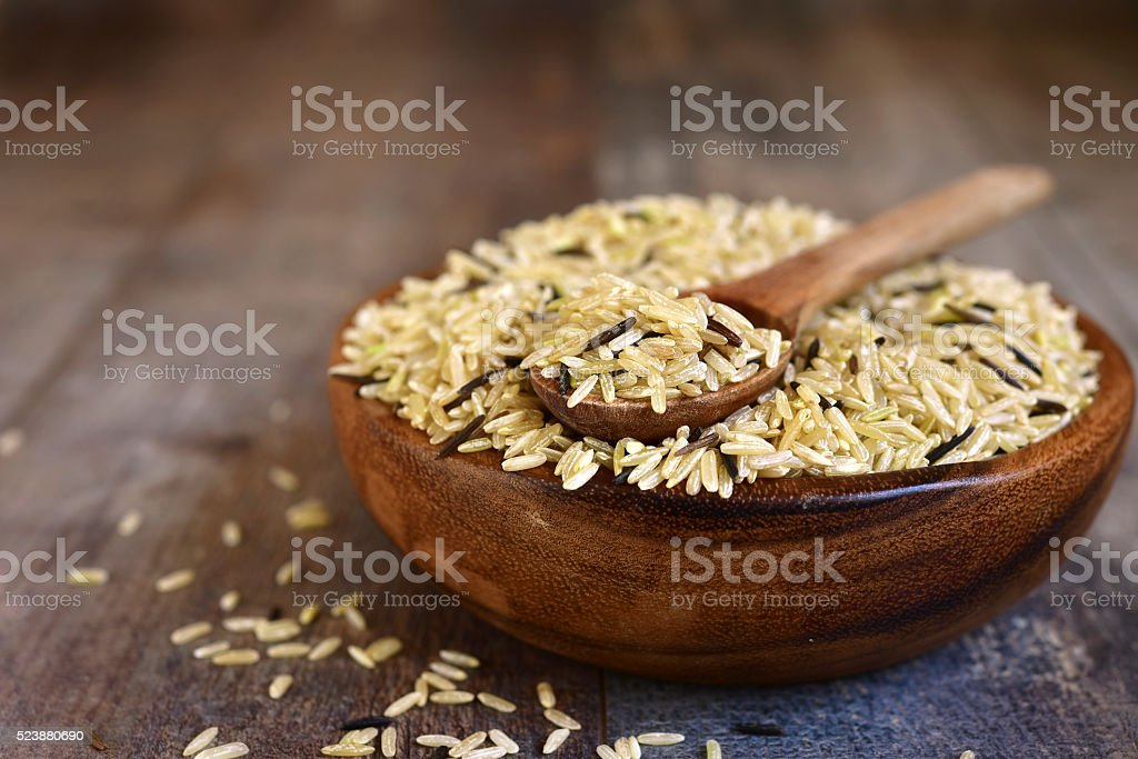 Blend of wild and brown rice. stock photo