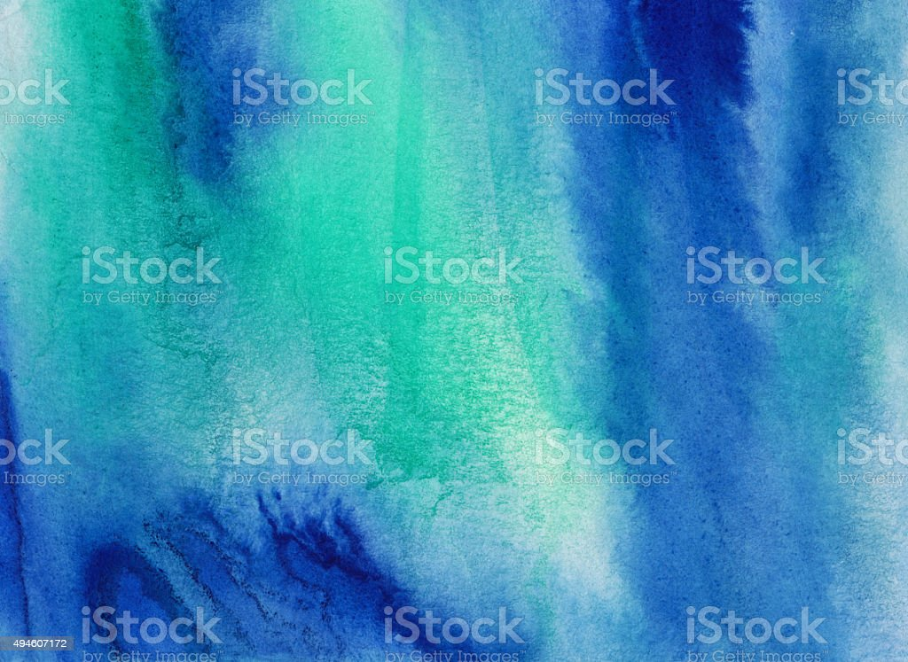 Blended effect hand painted with shades of green and blue vector art illustration