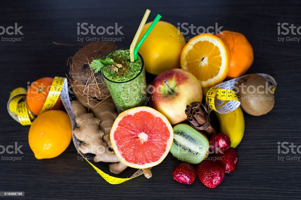 Blended green smoothie stock photo