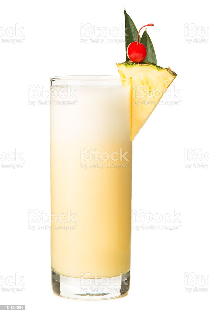 Blended Piña Colada Smoothy on White stock photo