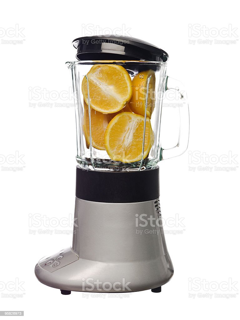 Blender with oranges royalty-free stock photo